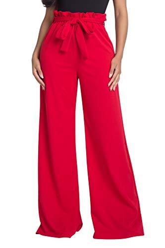 Women's Junior Plus J2 Love Paperbag Wide Leg Pants, 1X, Red ()