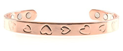 Copper Bracelet For Arthritis; Magnetic Therapy; Beautiful Heart Design; Commonly worn for Pain Relief and Magnetic Healing; Can also be worn as an (Design Copper Bracelet)