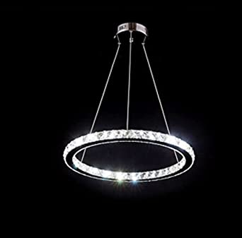 LESR YOBO Lighting Contemporary Crystals Chandelier Island Ceiling Pendant Light Living Room D400mm Ring LED