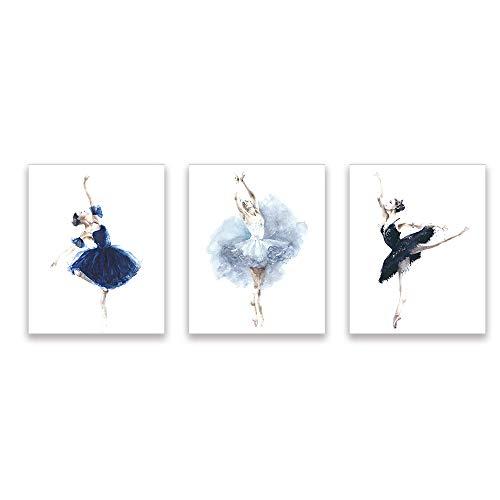 Dancing Art Poster - Kairne Elegant Dancer Wall Artwork Print Watercolor Picture Dancing Art Poster Modern Room Decor Set of 3 Unframed 8x10 Inch