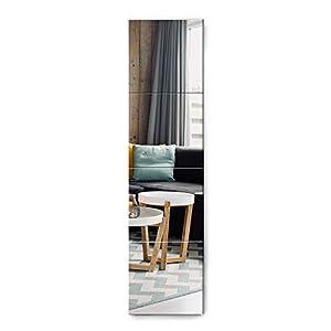 Muzilife Miroir Mural sans Cadre 4 Pièces avec Ruban Auto-adhésif, Miroir de Toilette pour Décoration Maison (35x35cm)