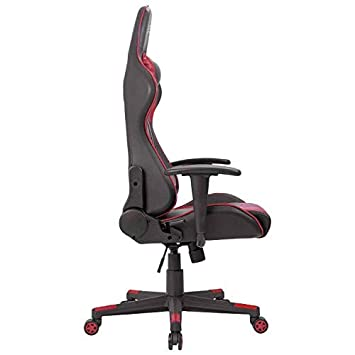 Furniwell Gaming Chair Computer Desk Chair Adjustable Swivel Racing Office Chair High Back PU Leather Chair Executive Ergonomic Chair with Headrest and Lumbar Support Red