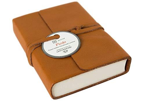 Picolino Handmade Leather Wrap Journal Mini Caramel, Plain Pages (13cm x 10cm x 3cm)