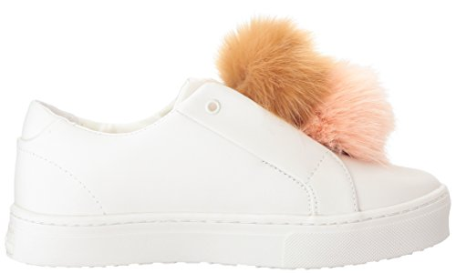 Sam Edelman Dames Leya Fashion Sneaker Wit / Warm Koraal / Naturel Naakt