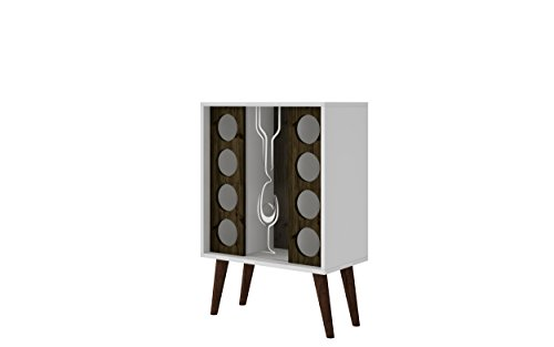 Manhattan Comfort Lund Collection Modern Square Design Reclaimed Wine Bar Cabinet, Holds 8 Bottles, White/Wood