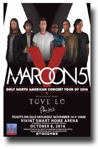 Maroon 5 Poster - 11 x 17 Promo for a Concert on the North American Tour 2016 -- SLC