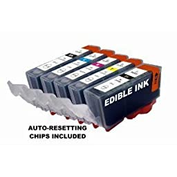 EDIBLE INKS for Canon PGI225,CLI226 set of 5 with chip