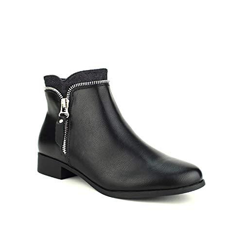 Femme Cinks Me Noir Bottine Chaussures Cendriyon Noire Zip T84PfvwnqR