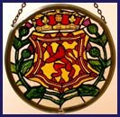 - Decorative Hand Painted Stained Glass Window Sun Catcher/Roundel in a Scottish Lion and Thistle Design