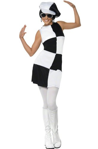 Smiffys Women's 1960's Party Girl Costume, Dress and Hat, 60's Groovy Baby, Serious Fun, Size 6-8, -