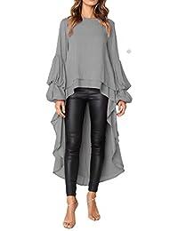 Women's Lantern Long Sleeve Round Neck High Low...