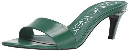 Calvin Klein Women's Gallia Heeled Sandal Green Kid Skin 6.5 M US
