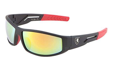 Khan Slim Sport Wrap Around Sunglasses (Black & Red Frame, Yellow Flash Mirror)