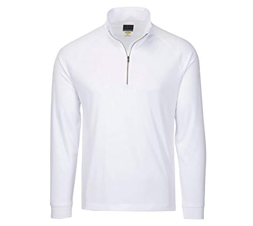 Greg Norman Men's Long Sleeve 1/4-Zip Mock, White, Medium (Pullover Microfiber Zip 1/4)