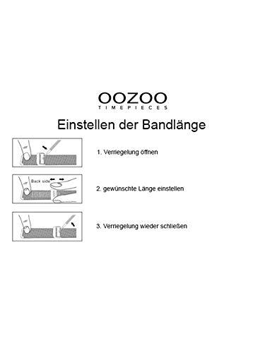 Oozoo vintage damklocka med massivt grovmaskigt rostfritt stål Milanaise metallband 40 mm rosafärg/svart C9925