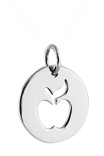 Apple Charm - 925 Sterling Silver - Cutout Round Disk Teacher Gift Pendant - Jewelry Accessories Key Chain Bracelets Crafting Bracelet Necklace Pendants (Cut Eagle Out Pendant)