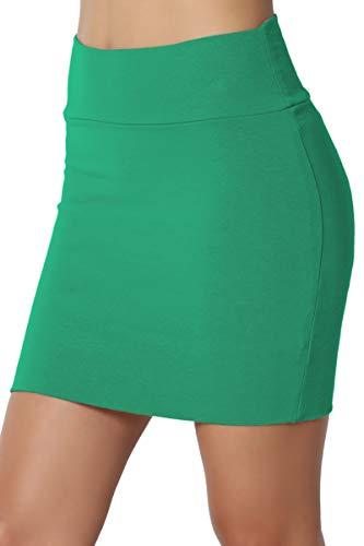 TheMogan Junior's Stretch Cotton Jersey Lined Bodycon Tube Mini Skirt Kelly Green M (Kelly Mini)