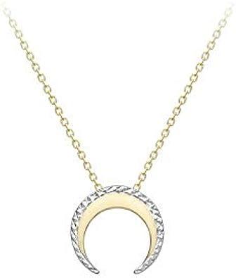 Carissima Gold Collar con Colgante en Forma de Cuerno con Corte Diamante para Mujer - Cadena Ajustable en Oro Amarillo y Blanco 9K (375) - 43cm / 46cm