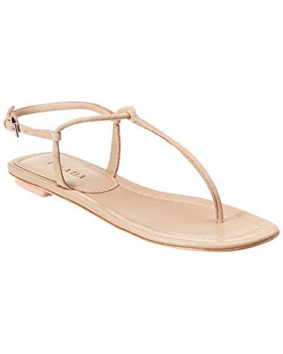 Prada Suede Leather - Prada Suede Thong Sandal, 37.5, Beige