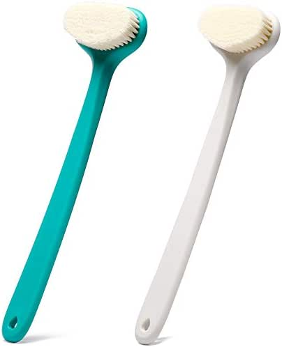 Bath Body Brush with Comfy Bristles Long Handle Gentle Exfoliation Improve Skin's Health and Beauty Bath Shower Wet or Dry Brushing Body Brush (White & Green)