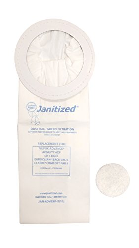 Janitized JAN-ADV6XP-2 Premium Replacement Commercial Vacuum Paper Bag for Advance Adgility 6XP Vacuum Cleaner, OEM#1471098500 (Pack of 10)