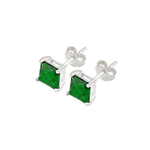 .925 Sterling Silver 6mm Green Princess-cut Cubic Zirconia Stud Earrings
