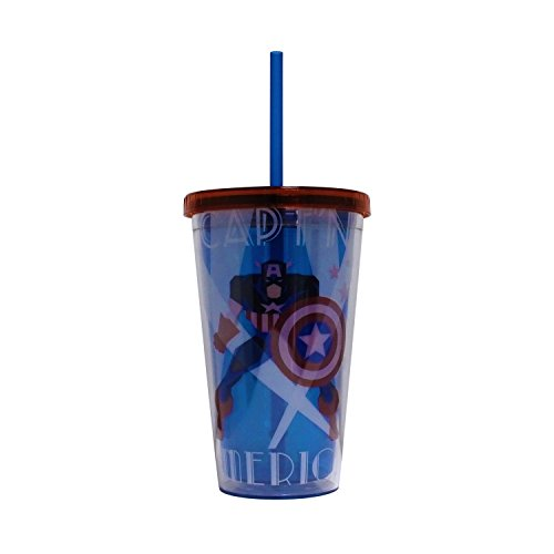 captain america glass cup - 8