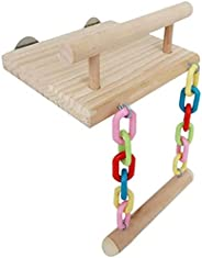 Wooden Bird Parrot Perches Cage Toys Hamster Play Gym Stand with Wood Swing Rattan Ball Toy Bird Supplies