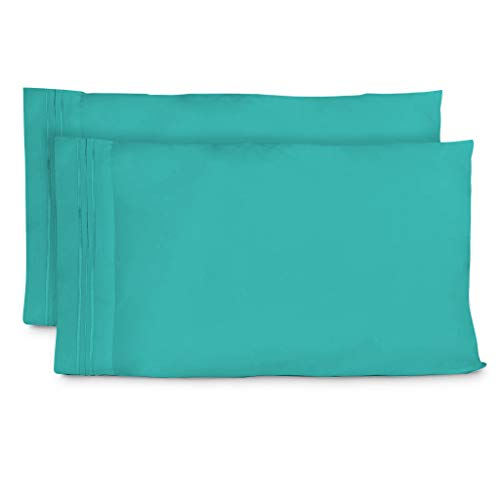 Cosy House Collection Pillowcases King Size - Turquoise Luxury Pillow Case Set of 2 - Premium Super Soft Hotel Quality Pillow Protector Cover - Cool & Wrinkle Free - Hypoallergenic