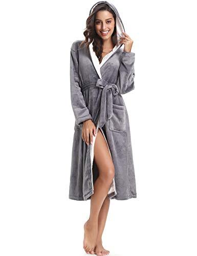 tasche grigio 2 pile invernale Accappatoio notte accappatoio donna lunga di con Aibrou scuro con cappuccio in flanella xH6wCq68T