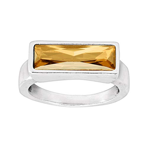 Golden Swarovski Ring - Silpada 'Gilt-Y Pleasure' Golden Swarovski Crystal Ring in Sterling Silver