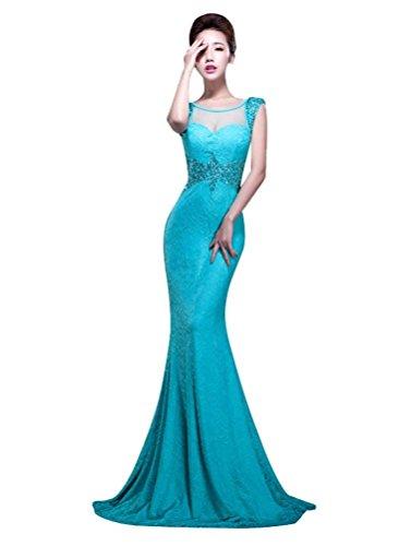 Meerjungfrau Kurzarm Beauty Transparent Paillette Abendkleider Emily Blau Schlitz Zurück YPSw1xq