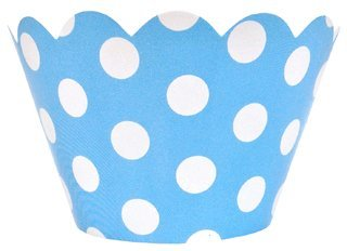 Just Artifacts Decorative Cupcake Paper Wrapper Muffin Holder - (40pc) Color: Baby Blue w/ White Polka Dots - Decorations for Birthday Parties, Baby Showers, Weddings and Life (Muffin Wrappers)