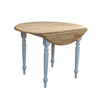 Target Marketing Systems 40-Inch Round Drop Leaf Table with Turned Legs, White Natural