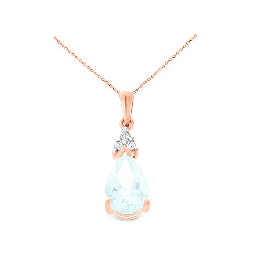14K Rose Gold 6 x 8 mm. Pear Genuine Aquamarine and Diamond Pendant With Square Rolo Chain Necklace - Genuine Square Aquamarine Pendant