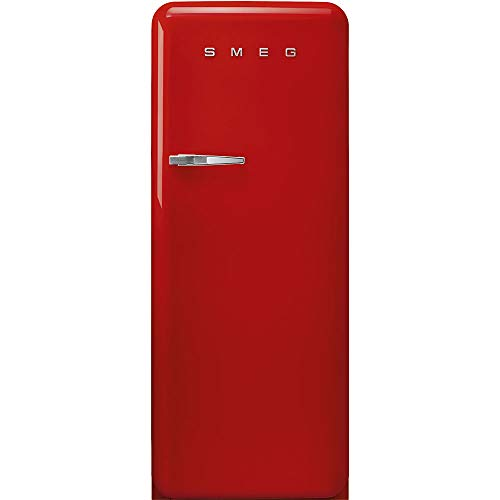 Smeg FAB28 50's Retro Style Aesthetic Top Freezer Refrigerator with 9.92 Cu Total Capacity, Multiflow Cooling System, Adjustable Glass Shelves 24-Inches, Red Right Hand Hinge