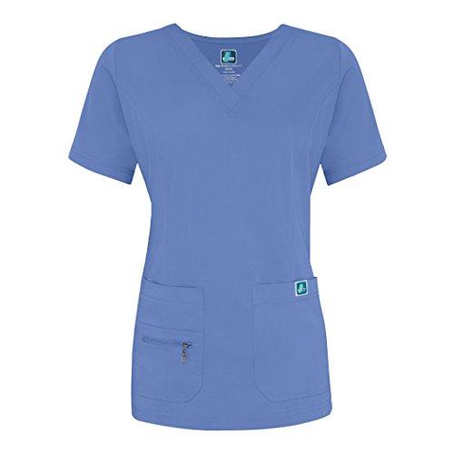 Adar Indulgence Jr. Fit Women's Scrub Set - Enhanced V-Neck Top/Multi Pocket Pants - 4400 - Ceil Blue - S by ADAR UNIFORMS (Image #1)