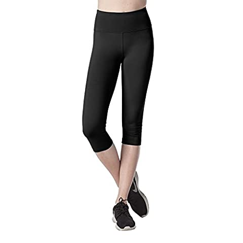 Rika0-0 Comfortable and athletic Women's Sports Capris SOFT WIDE WAISTBAND Stretchy Running Yoga Pants Hidden Pocket L02 BlackM/Waist - 9 Glasgow Long Body