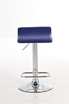 CLP Tabouret De Bar R/églable En Hauteur DYN I Rev/êtement Similicuir I Chaise Haute Pivotante Avec Repose-pied I Pi/étement En M/étal Chrom/é Bleu