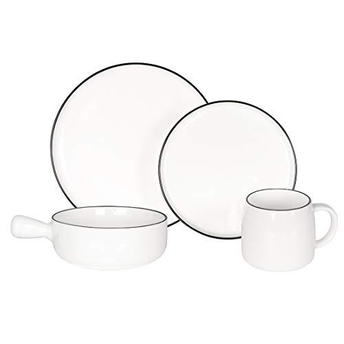 BonNoces Classic White Dinnerware Set, 4-Piece Kitchen Dishes Sets with Black Edges, 2xPlates, 1xSoup Bowl, 1xMug…