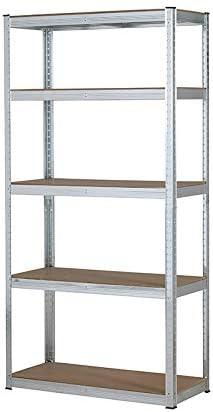 Estanter/ía resistente galvanizada para garaje 150/kg por estante 5/niveles, 1500/x 700/x 300/mm