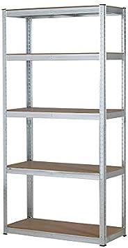 Estantería resistente galvanizada para garaje, 150 kg por estante (5 niveles, 1500 x 700 x 300 mm)