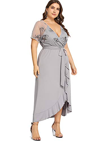 Milumia Plus Size Empire Waist Maxi Dress Ruffle Split Semi Sheer Embroidered Party Solid Dresses Gray 1XL