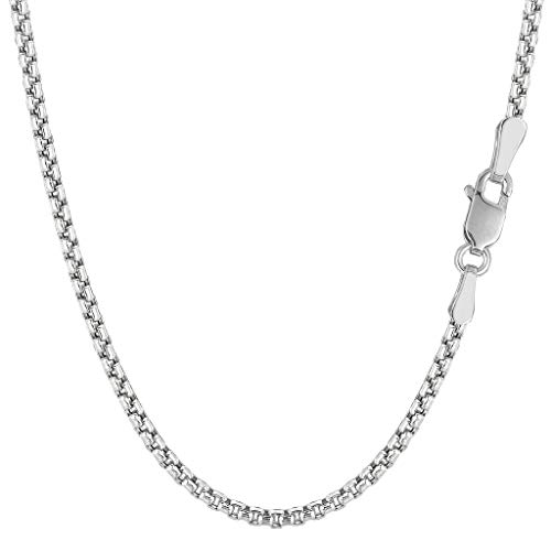 14K Yellow or White Gold 1.7mm Shiny Round-Box Chain Necklace for Pendants and Charms with Spring Ring Clasp (16