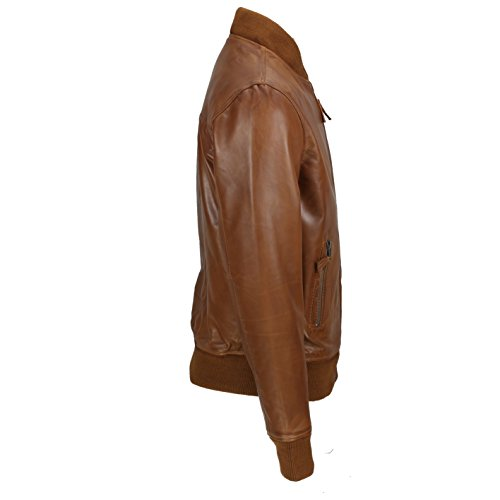 Smart estilo piel Xposed motero nbsp;marrón Real chaqueta Bomber Vintage nbsp;– de suave Casual negro UZ7YUq