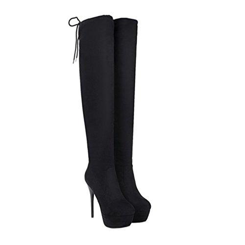 Enmayer Vrouwen Flock Materiaal Hoge Hakken Kniehoge Over-de-knie Laarzen Schoenen Voor Dames Winterlaarzen Zwart