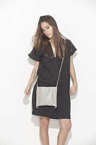 Handmade Grey Soft Genuine Leather Geometric Crossbody Mini Purse Travel Passport Phone Bag