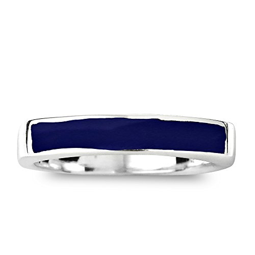 (AeraVida Rectangular Bar Simulated Blue Lapis-Lazuli Inlay .925 Sterling Silver Ring (9))