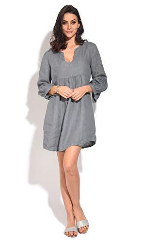 Lin 100 Femme Gris Chiné Robe v0wqYOw