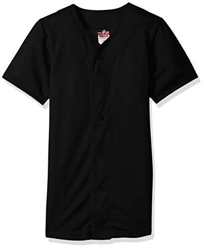 Alleson Athletic Teen-Boys Youth Baseball Jersey, Black, X-Large by Alleson Athletic